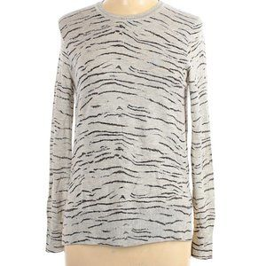 REBECCA TAYLOR Gray Animal Print Pullover Sweater